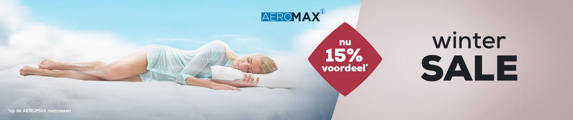 Winter Sale Matrassen AEROMAX banner | Swiss Sense