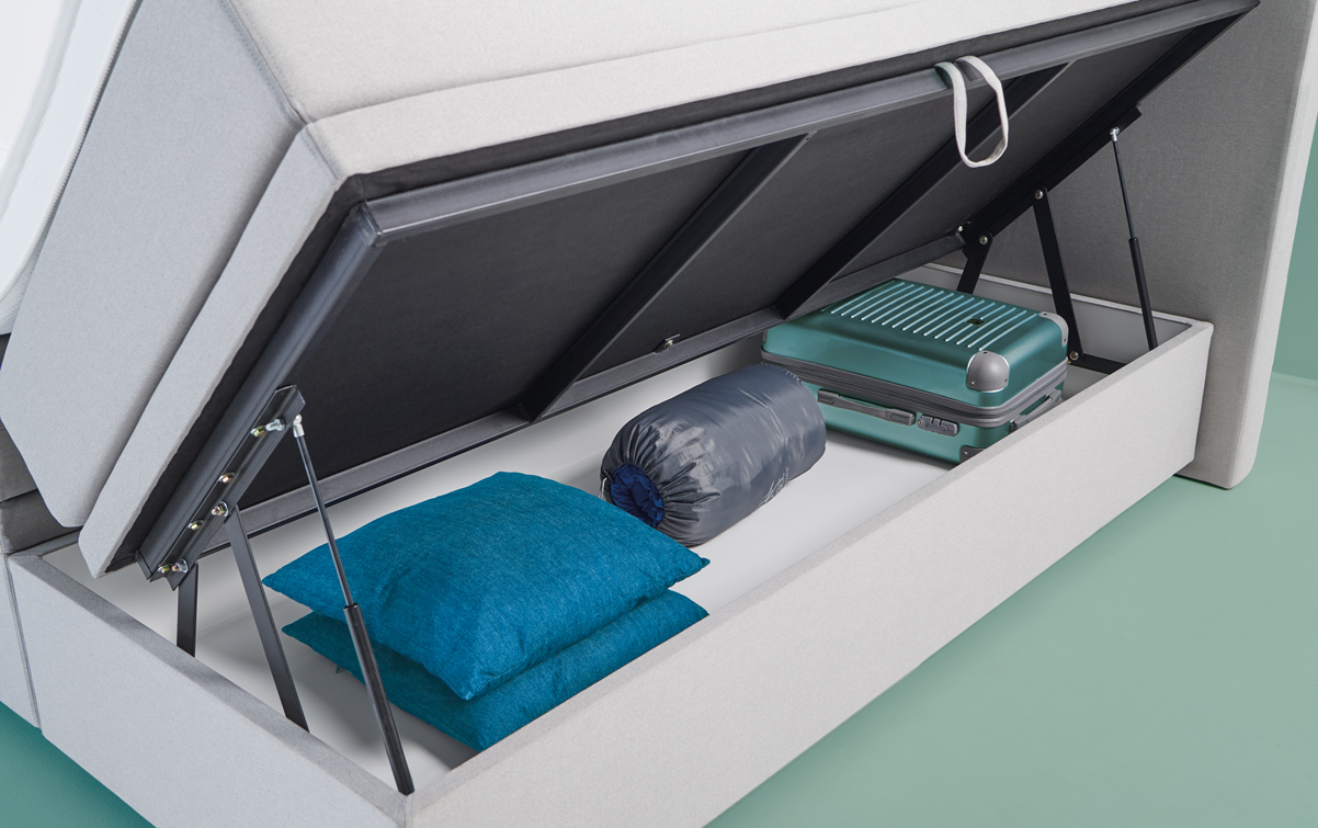 Grijze boxspring SMART storage 02
